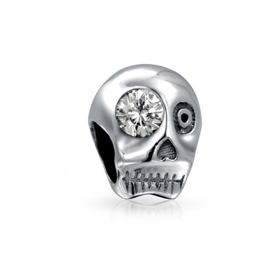 Halloween Skeleton Skull CZ Eye Charm Bead Sterling Silver Bracelet
