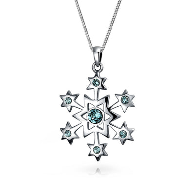 Snowflake Star Pendant Necklace Winter Blue Imitation Topaz Sterling