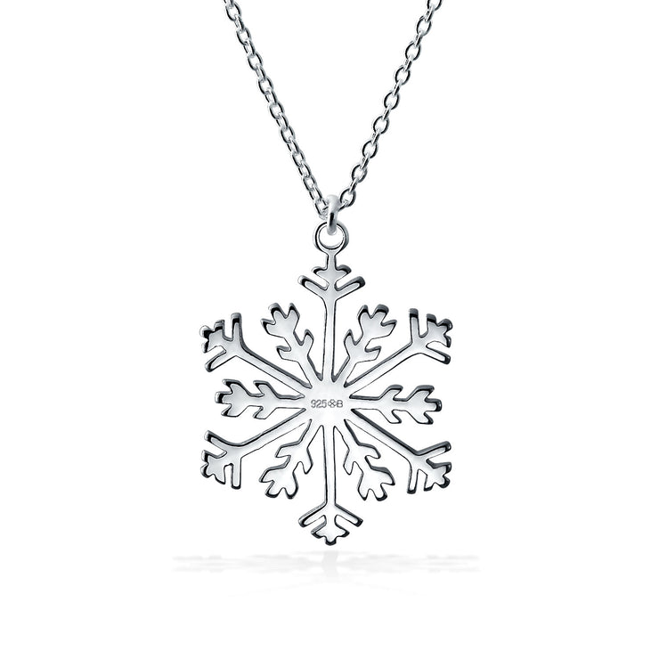 Holiday Winter Snowflake Pendant Necklace High 925 Sterling Silver