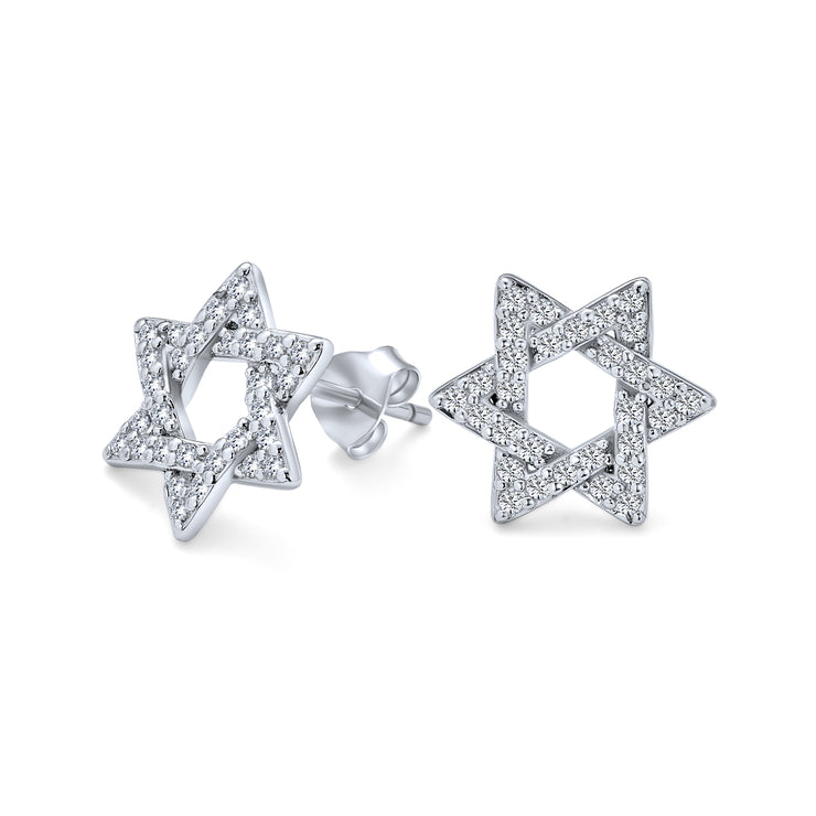 Hanukah Star Of David Religious Je CZ Stud Earrings Sterling Silver