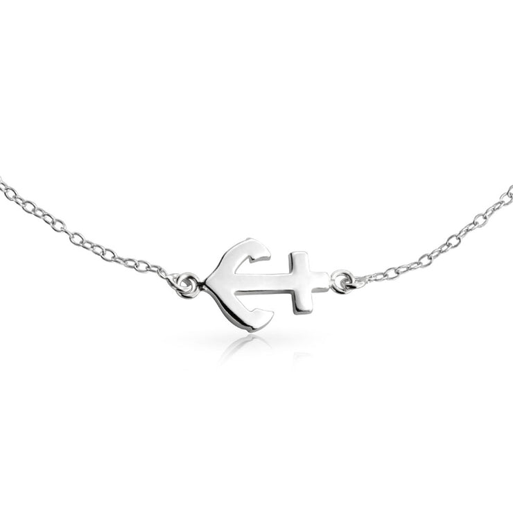 Nautical Side Boat Anchor Charm Anklet Ankle Bracelet Sterling Silver