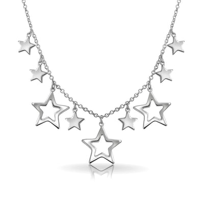 Patriotic Stars Rock Star Statement Necklace 925 Sterling Silver