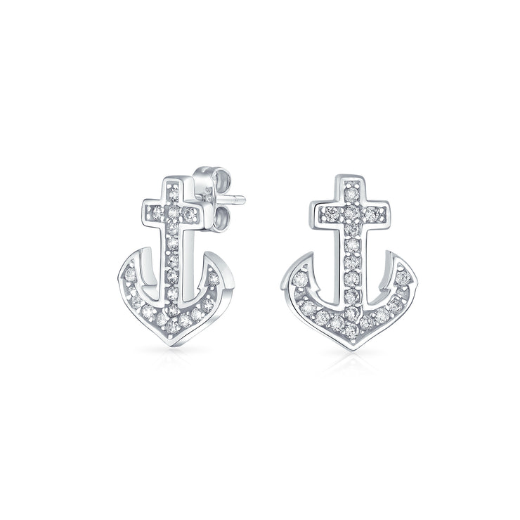 Nautical Boat Anchor CZ Cubic Zirconia Stud Earrings Sterling Silver