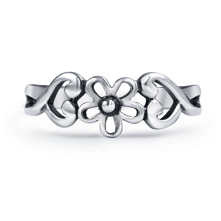 Flowers Heart Carved Filigree Midi Ring Silver Sterling Mid Finger