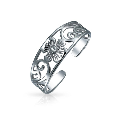 Flowers Vine Swirl Cut Out Filigree Midi Band Toe Ring Silver Sterling