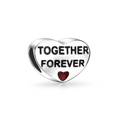 Together Forever Love Couples Red Heart Charm Bead 925 Sterling Silver