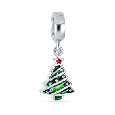 Holiday Christmas Green Tree Dangle Charm Bead 925 Sterling Silver