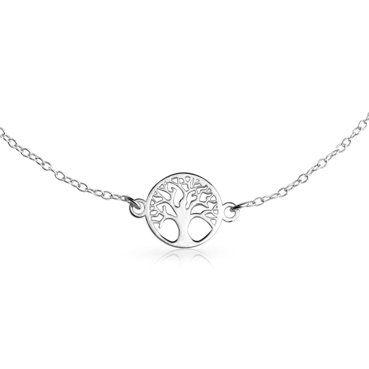 Round Celtic Family Tree of Life Anklet Ankle Bracelet Sterling Silver