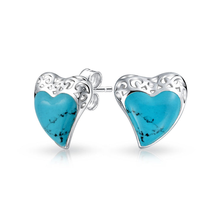 Filigree Enhanced Turquoise Heart Stud Earrings Sterling Silver