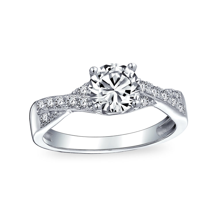 Sterling Silver 2CT Solitaire CZ Criss Cross Infinity Engagement Ring