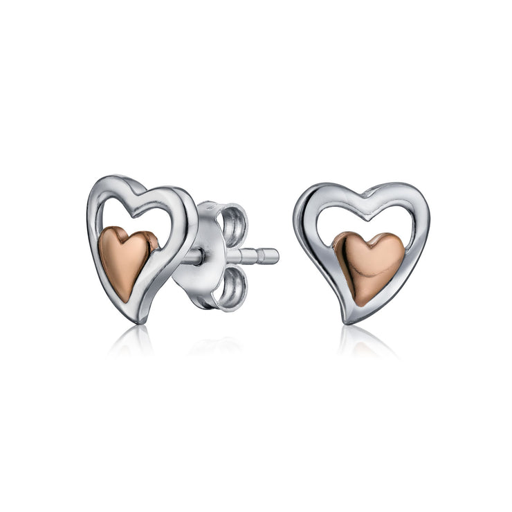 Two Toned Double Heart Stud Earrings Rose Gold Plated Sterling Silver
