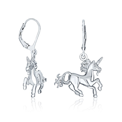 Horse Pegasus Magical Unicorn Leverback Earrings .925 Sterling Silver