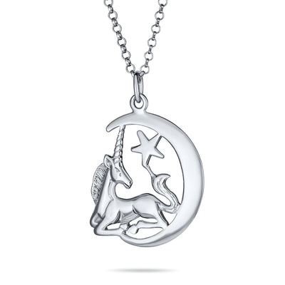 Crescent Moon Medal Pegasus Magical Unicorn Necklace Sterling Silver