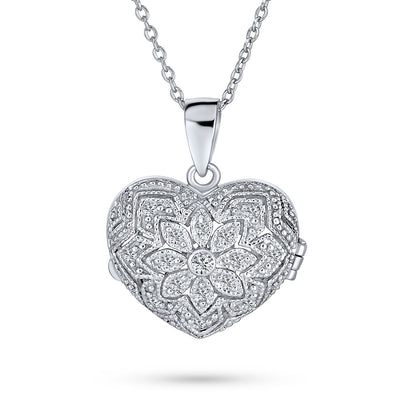 CZ Open Heart Aromatherapy Essential Oil Perfume Diffuser Locket