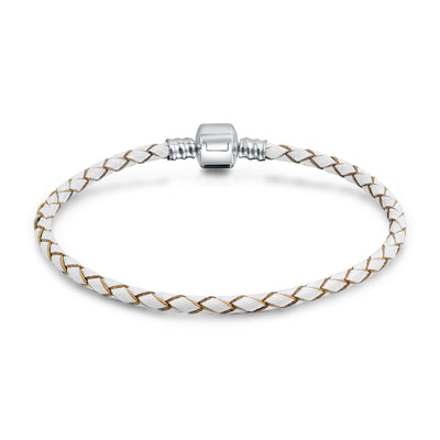 Weave Braid Leather Starter Charm Beads Bracelet Sterling Silver