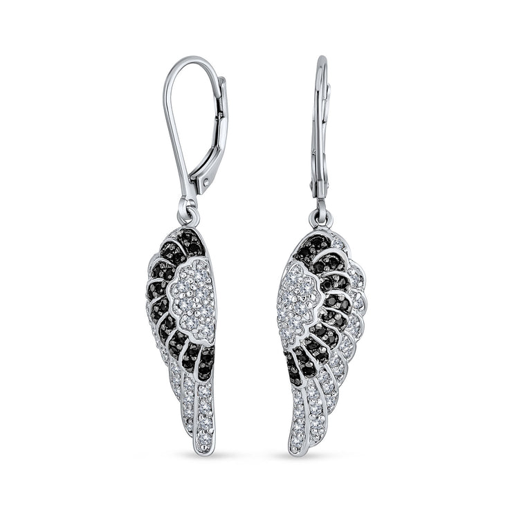 Guardian Angel Wing Feather Black CZ Leverback Earrings Silver Plated