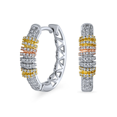 Modern Three Tone Tricolor CZ Pave Oval Hoop Earrings .75 Inch Dia
