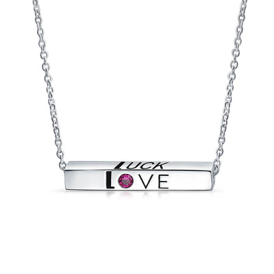Ayllu Love Luck Unity Sideways Bar Pendant Necklace Red Crystal Silver