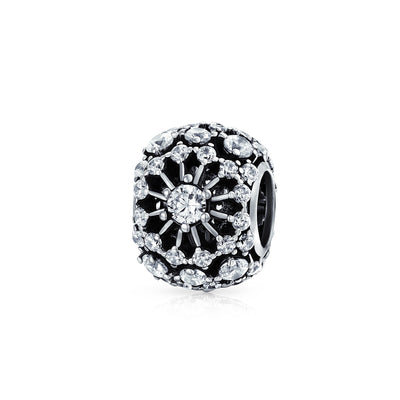 White Crystal Filigree Spacer Barrel Charm Bead 925 Sterling Silver