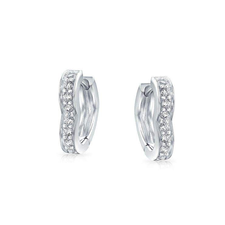 Heart Cubic Zirconia CZ Hoop Earrings 925 Sterling Silver 1 5 In Dia