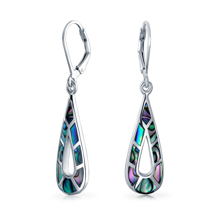 Abalone Shell Gemstone Teardrop Dangle Earrings 925 Sterling Silver