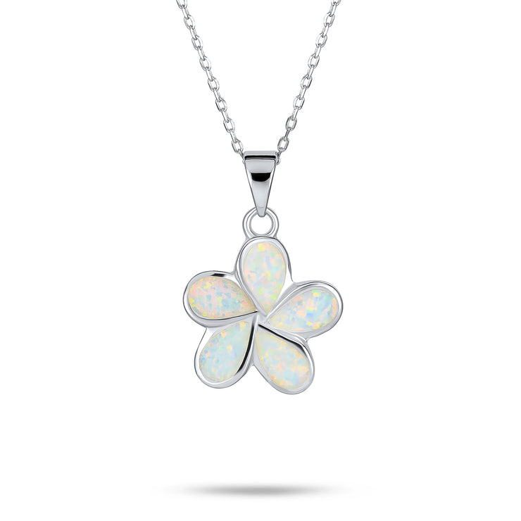 Plumeria Flower Created Opal Pendant Necklace 925 Sterling Silver