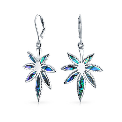 Abalone Marijuana Leaf Leverback Drop Earrings 925 Sterling Silver