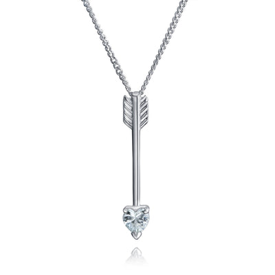 Arrow Pendant Necklace Heart Cubic Zirconia Sterling Silver Necklace