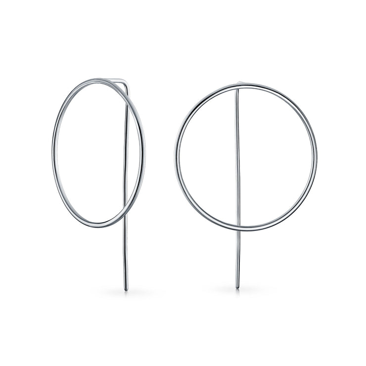 Geometric Round Open Circle Threader Earrings 925 Sterling Silver