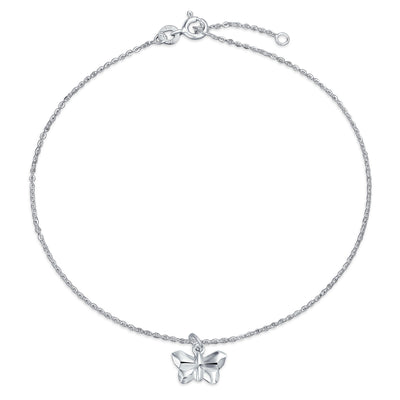 Origami Butterfly Anklet Dangle Charm Ankle Bracelet Sterling Silver