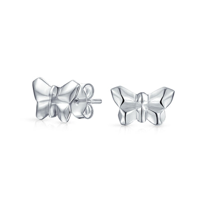 Geometric 3D Origami Butterfly Stud Earrings Women 925 Sterling Silver
