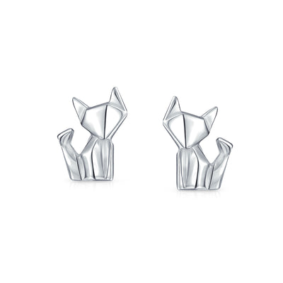 3D Origami Cat Pet Kitten Kitty Stud Earrings 925 Sterling Silver