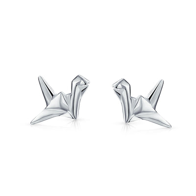 Geometric 3D Origami Swan Bird Stud Earrings Women 925 Sterling Silver