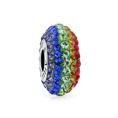 Heart Rainbow Gay Pride LGBTQ Crystal Bead Charm Fits Pandora