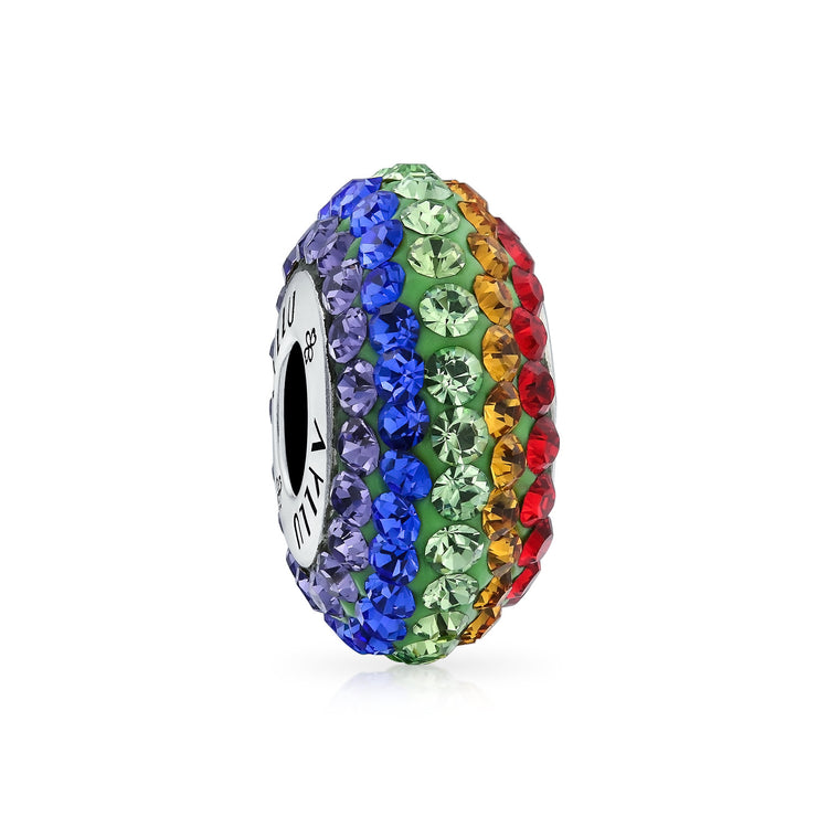 Inspirational Heart Rainbow Gay Pride LGBTQ Symbol Crystal Charm Bead