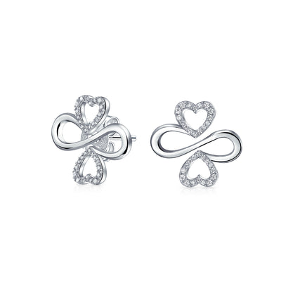 Ayllu Symbol Heart Infinity Clover Pave CZ 925 Silver Stud Earrings
