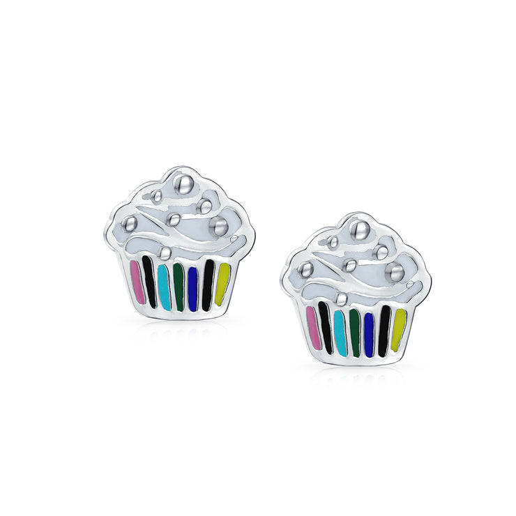 Multicolor Birthday Cake Cupcake Baker Stud Earrings Sterling Silver