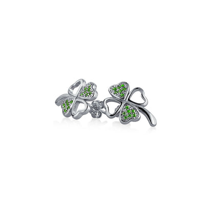 Kelly Green Pave CZ Four Leaf Clover Stud Earrings Sterling Silver