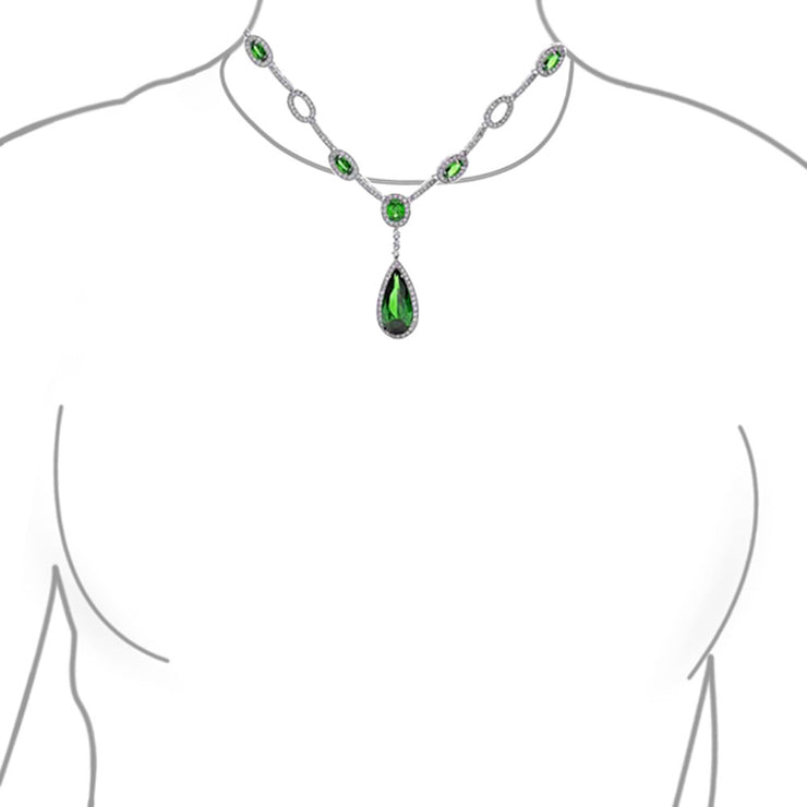 Green CZ Tear Necklace Clip On Earring Set Simulated Emerald Silver