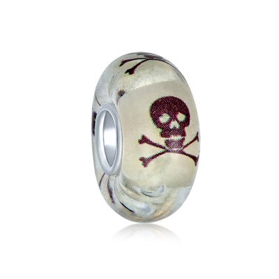 Black White Skull Crossbones Murano Glass Bead Charm Sterling Silver