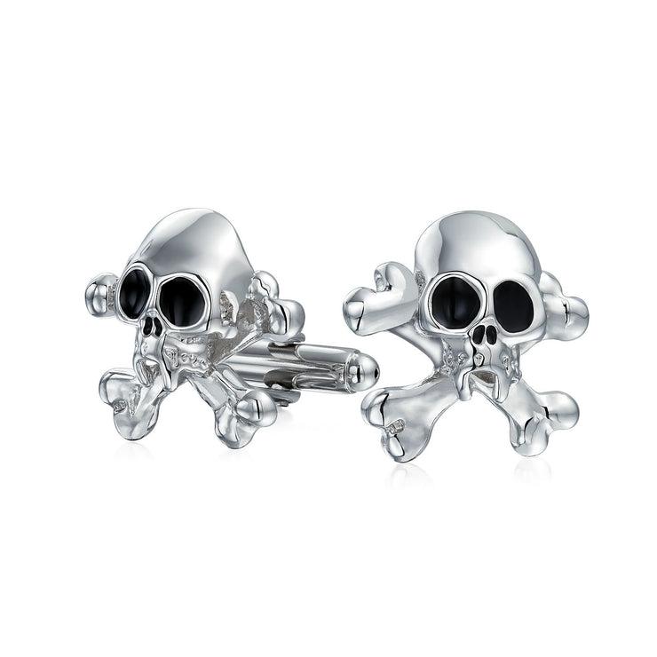 Caribbean Pirate Skull Crossbones Shirt Cufflinks Stainless Steel