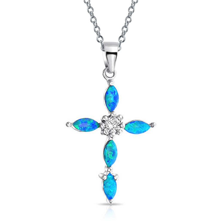 Created Blue Opal Marquise CZ Cross Pendant Necklace Sterling Silver