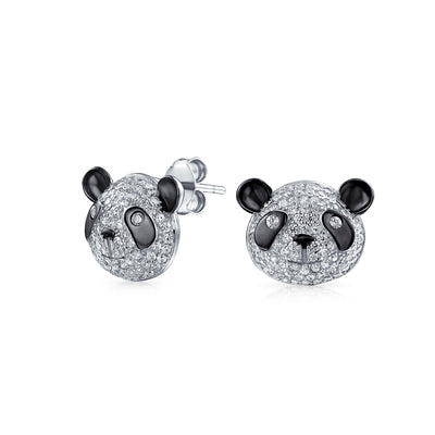 Zoo Animal Black Pave CZ Panda Bear Stud Earrings 925 Sterling Silver