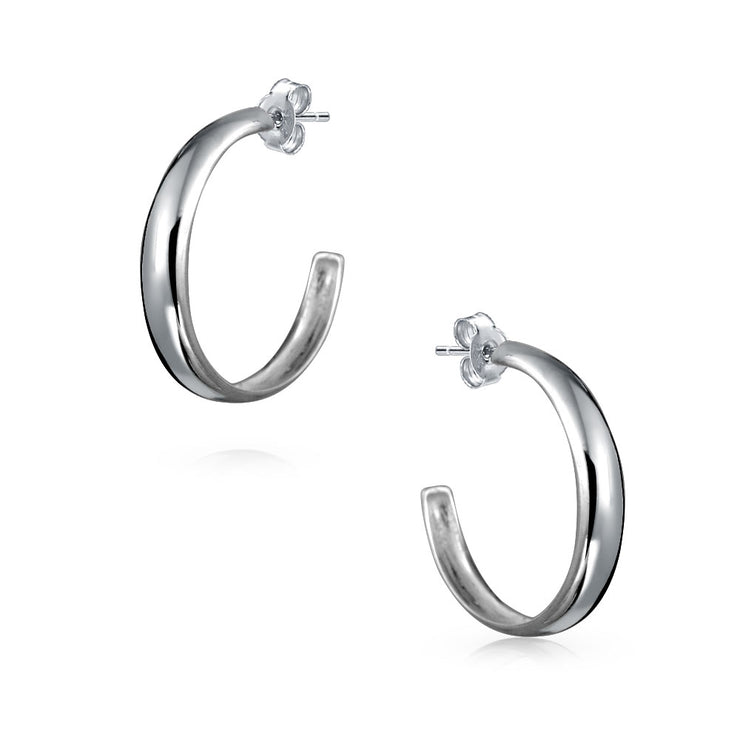 Lightweight Round Dome Half Large Stud Hoop Earrings Sterling Silver