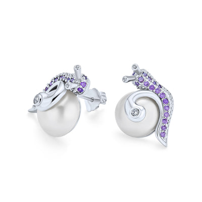 3D Purple Pave Snail White Stud Imitation Pearl Earrings Silver Plate
