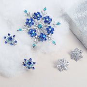 Large Winter Aqua Blue Teal Crystal Holiday Snowflake Brooch Pin
