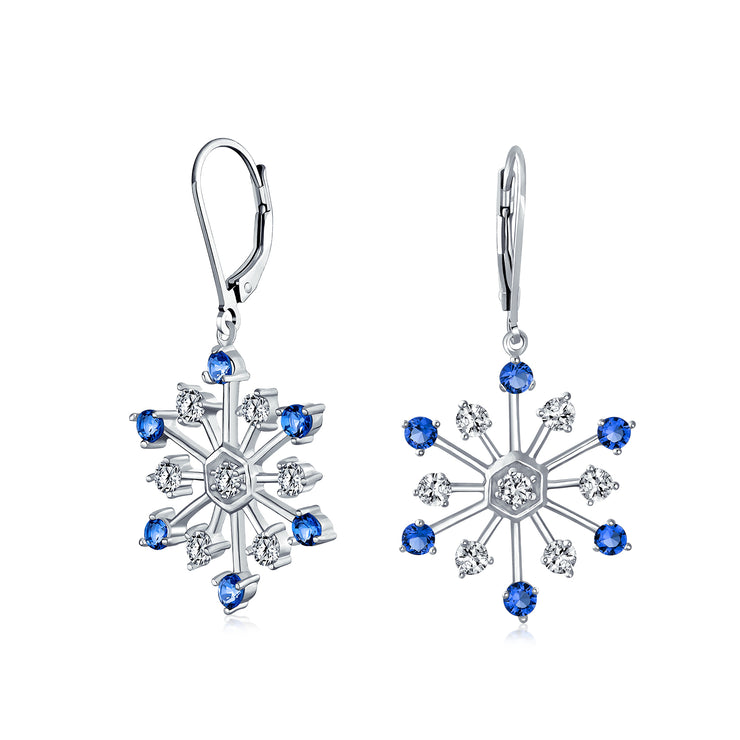 Winter Snowflake Drop Earrings Blue Cubic Zirconia CZ Silver Plated