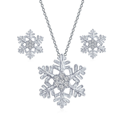 Branch Snowflake Pendant Pave CZ Necklace Earring Set Sterling Silver