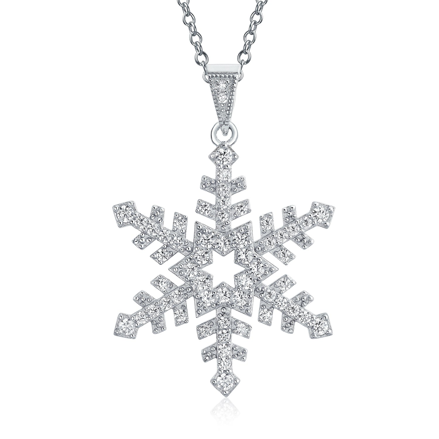 White Gold Plated Cubic Zirconia Snowflake Pendant Necklace For Women Xmas gifts