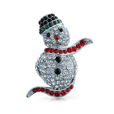 Winter Red Black Pave Crystal Holiday Christmas Snowmen Brooch Pin